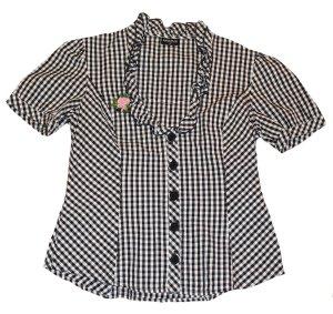 Sportalm Ruche blouse zwart-wit Katoen