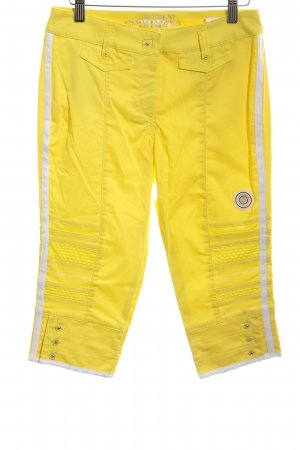 Sportalm Capris neon yellow-white striped pattern extravagant style