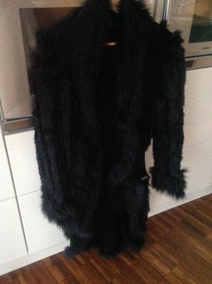 Sportalm edel Mantel mit Fell und Strick 40 M/L schwarz Luxus lange Jacke auch 42 Größe