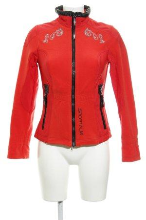 Sportalm Fleecejacke rot-schwarz Ornamentenmuster sportlicher Stil