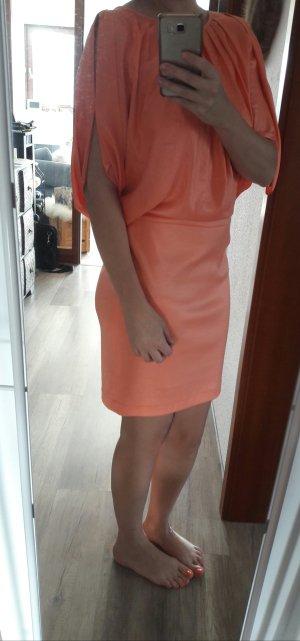 Sportalm Kleid Neonapricot Materialmix Bodycon Rock Sommerkleid