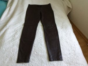 Sportalm Kunstlederhose, schokobraun, schmal, seitlicher Zipp, Gr. 40,