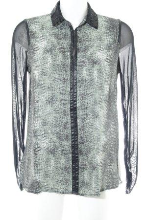 Sportalm Langarm-Bluse grün-schwarz abstraktes Muster extravaganter Stil