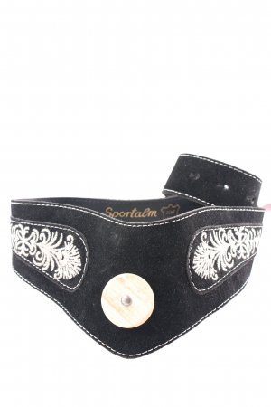 Sportalm Leather Belt black floral pattern country style