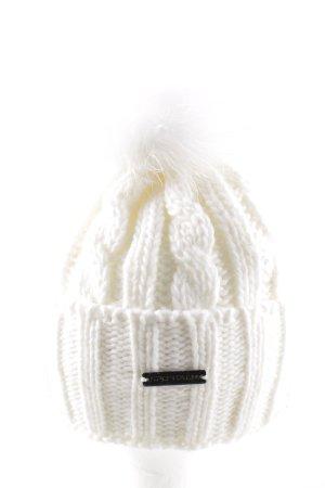 Sportalm Chapeau en tricot blanc cassé torsades style décontracté