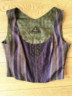 * SPORTALM * TOP BUSTIER Bluse WESTE SEIDE blau violett grün Stickerei Oktoberfest Wiesen Gr M 38