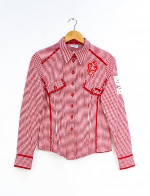 Sportalm Chemise bavaroise blanc-rouge brique