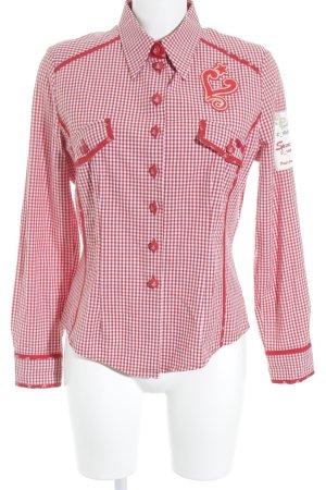 Sportalm Camisa folclórica rojo-blanco estampado a cuadros estilo country