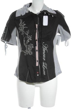 Sportalm Tunikabluse schwarz-grau Schriftzug gedruckt extravaganter Stil