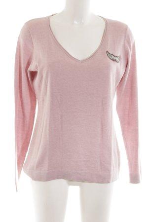 Sportalm Jersey con cuello de pico rosa moteado look casual