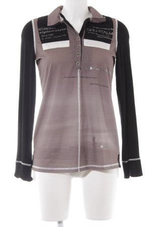 Sportalm V-Ausschnitt-Pullover grüngrau-schwarz abstraktes Muster Casual-Look