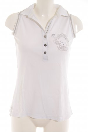 Sportalm Camisa con cuello V blanco-color plata look casual