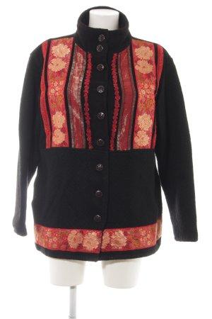 Sportalm Giacca di lana nero-rosso motivo floreale stile casual