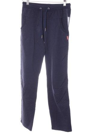 Sporthose dunkelblau-weiß Streifenmuster sportlicher Stil
