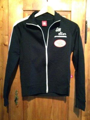 Sportjacke Sweatshirt Jacke Pulli Sport Streifen Converse schwarz