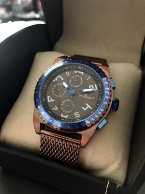 Watch With Metal Strap brown-steel blue
