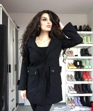 sportlich eleganter zara mantel mit kapuze in schwarz