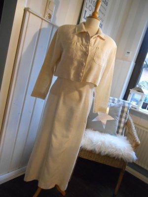 sportlich elegantes Etui Kleid mit kurzer Jacke 100% Rohseide Creme Maßgeschneidert