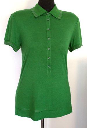 Sportlich-elegantes Polo-Shirt von MANGO grün mit grauen Streifen