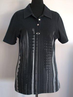 Sportlich-elegantes Poloshirt von Oakley mit grau-weißem Printmuster