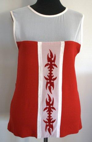Sportlich-elegantes rot-weißes Shirt mit Samtprint Handgefertigt