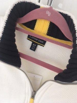 Sportlich klassische Strickjacke in beige mit schönen Farbkontrasten von Lands End, Gr. M