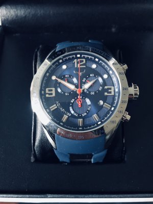 Aquaswiss Analog Watch silver-colored-blue stainless steel