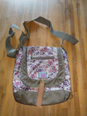 Crossbody bag green grey nylon