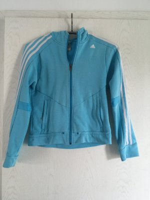 Sportliche, hellblaue Adidas Kapuzenjacke