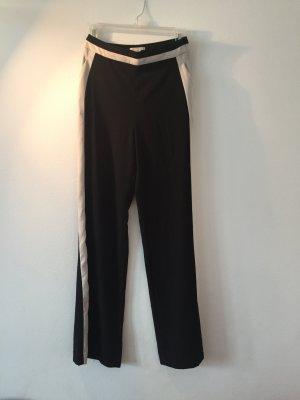 H&M Pantalón de cintura alta negro-beige claro Poliéster