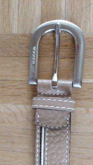 Sportlicher BOGNER Gürtel Leder beige mit Streifen