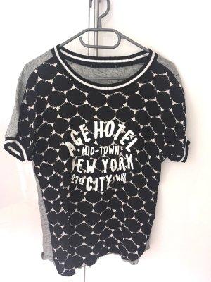Sportliches T-Shirt, schwarz-weiß, Oui, Gr. 38