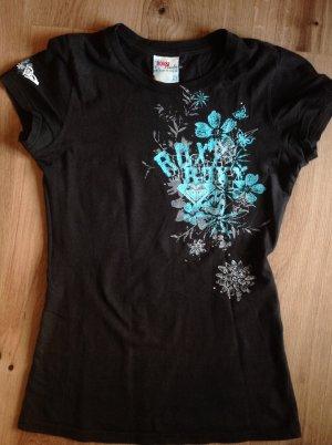 Sportliches T-Shirt Surf Roxy Gr. S schwarz stylischer Aufdruck