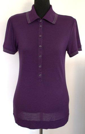 Sportllich-elegantes Polo-Shirt von Mango Lila mit Grauen Streifen