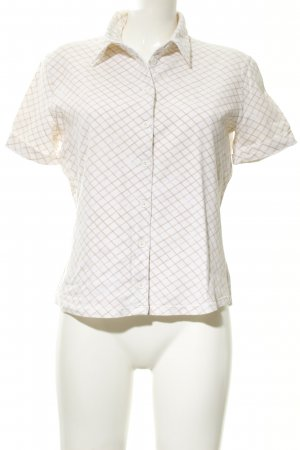 Sportmax Code Short Sleeve Shirt natural white-beige check pattern casual look