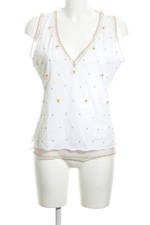 Sportmax Code Haut en dentelle blanc-crème motif de fleur style décontracté