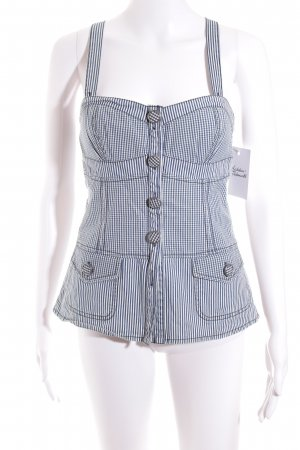 Sportmax Code Strappy Top blue-white check pattern casual look