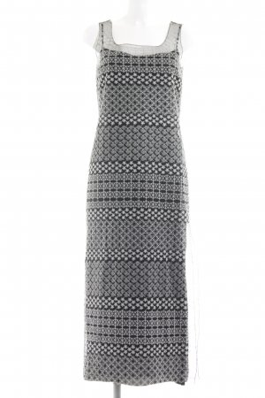 Sportmax Maxikleid weiß-schwarz abstraktes Muster Casual-Look