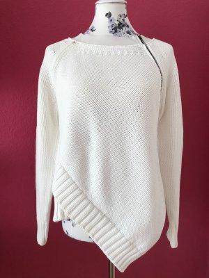 Sportmax weißer Strickpulli mit Seideneinsatz