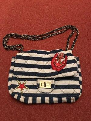 Sportsgirl Tasche Clutch blau weiß gestreift, Gliederkette Gold