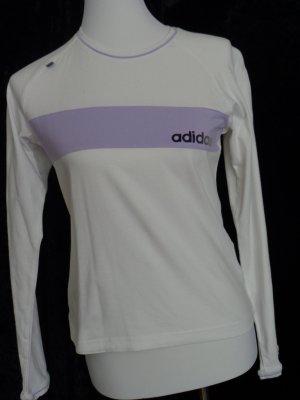 Sportshirt weiß/flieder von adidas Gr. 38 Baumwolle, Langarm