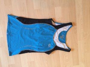 Sporttop zwart-neon blauw Polyester
