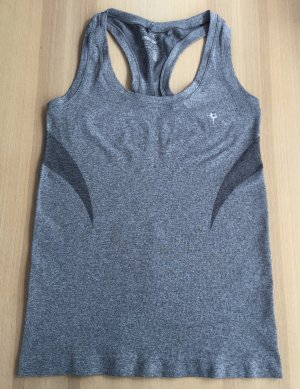 Sporttop Workout Top grau Stretch Activewear Gr. S / 36-38 Sport Tanktop Ringerrücken Fitness Gym