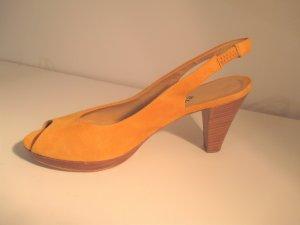 Escarpins à bout ouvert orange doré cuir
