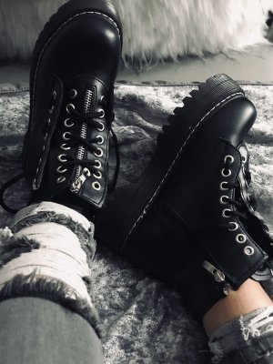 Platform Boots black-silver-colored