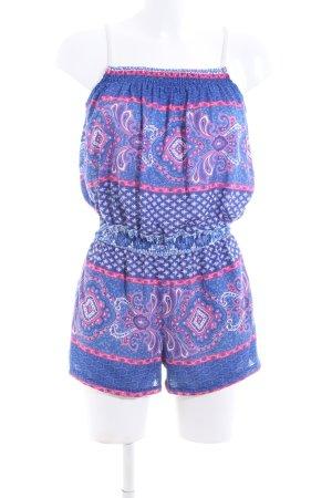 Springfield Jumpsuit blau-pink Allover-Druck Casual-Look