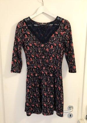 Springfield Kleid Gr. S / 36 Dunkelblau Blumen Spitze Neu Rosa