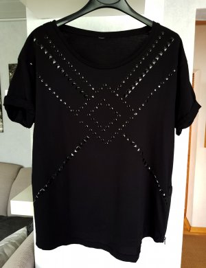 Springfield Kurzarm Shirt T-Shirt mit Nieten schwarz M