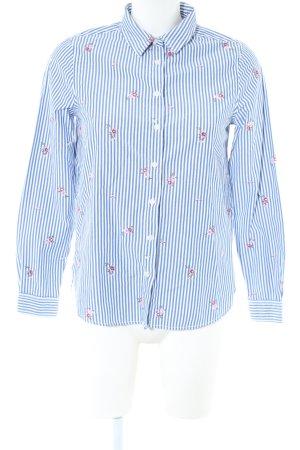 Springfield Langarm-Bluse blau-weiß Blumenmuster Business-Look