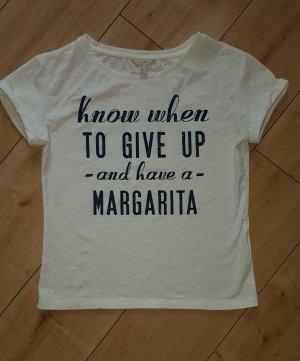 Camiseta estampada blanco-azul oscuro Algodón
